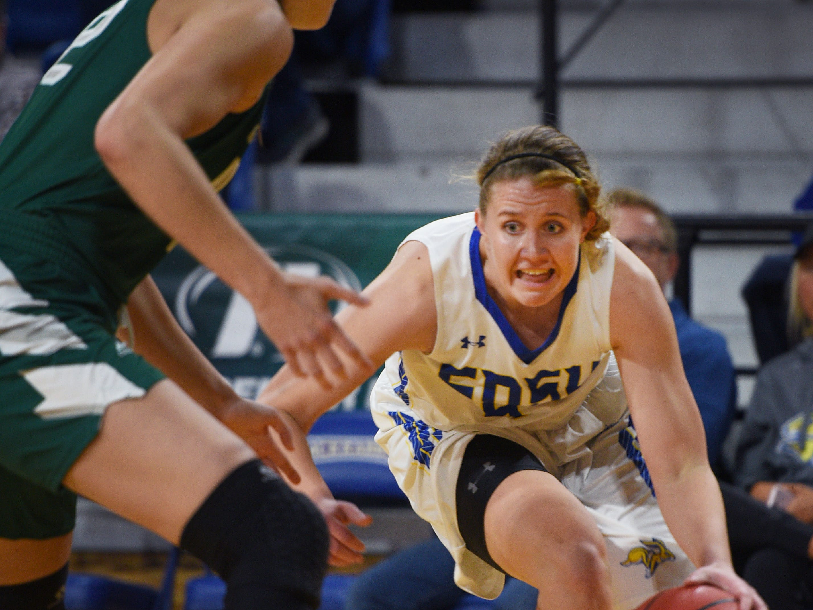 SDSU's Myah Selland goes against Green Bay defense during the game Thursday, Nov. 29, at Frost Arena in Brookings.