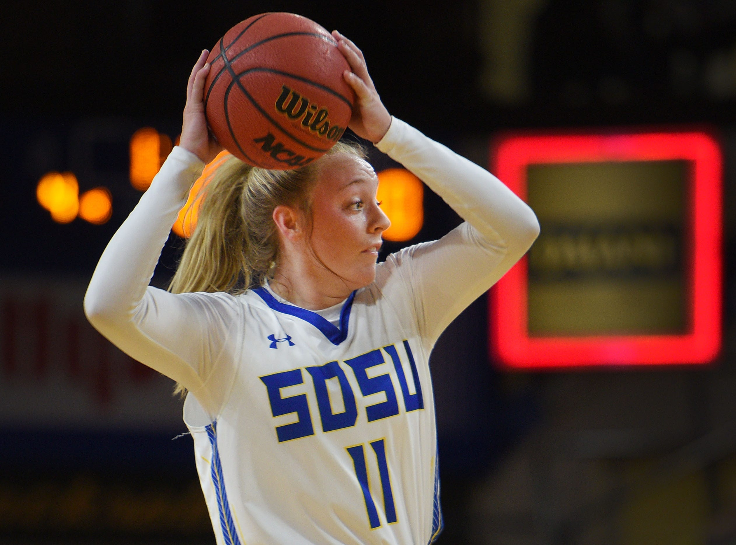 SDSU's Madison Guebert during the game against Green Bay Thursday, Nov. 29, at Frost Arena in Brookings.