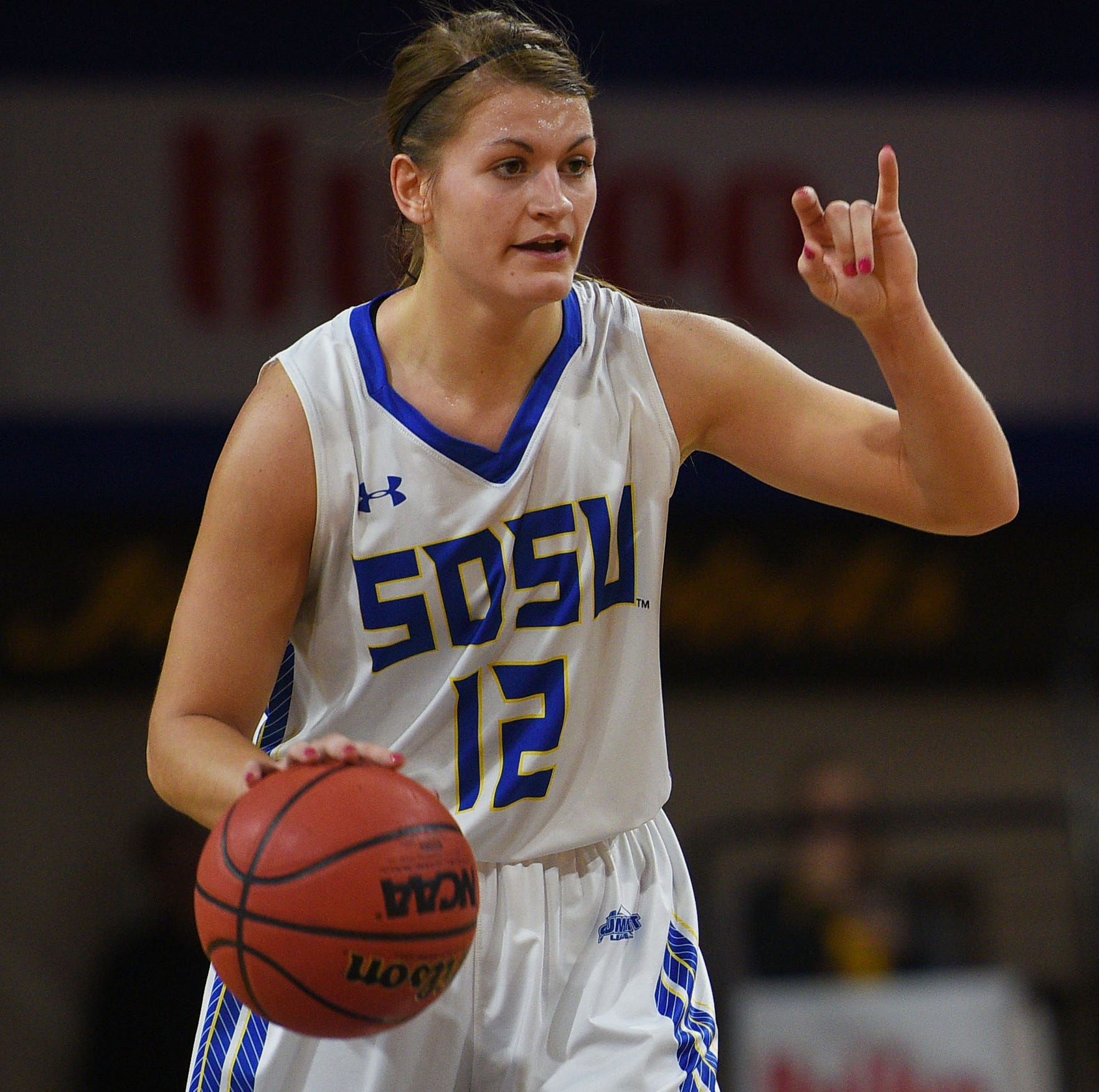 SDSU's Macy Miller signals to her team during the game against Green Bay Thursday, Nov. 29, at Frost Arena in Brookings.