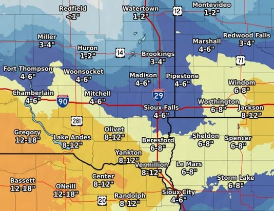 Sioux Falls Winter Storm Snow Forecast