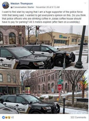 A post in a Sioux Falls Facebook group spurred discussion about whether police officers should have to pay for parking while on break.