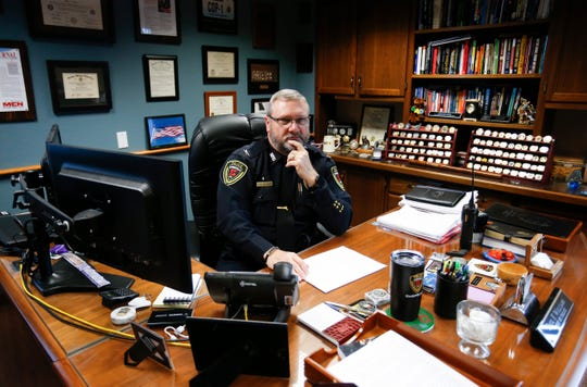 """Springfield Police Chief Paul Williams discusses a CNN investigative report that called Springfield """"the city where police failed rape victims"""" in his office on Friday, Nov. 30, 2018."""