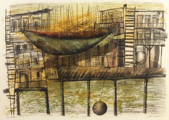 José Omar Torres López, La Ciudad y el tiempo, 2003, lithograph