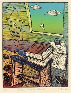 Alejandro Ramón Saínz Alfonso, El Vuelo de la cultura, 1999, linocut
