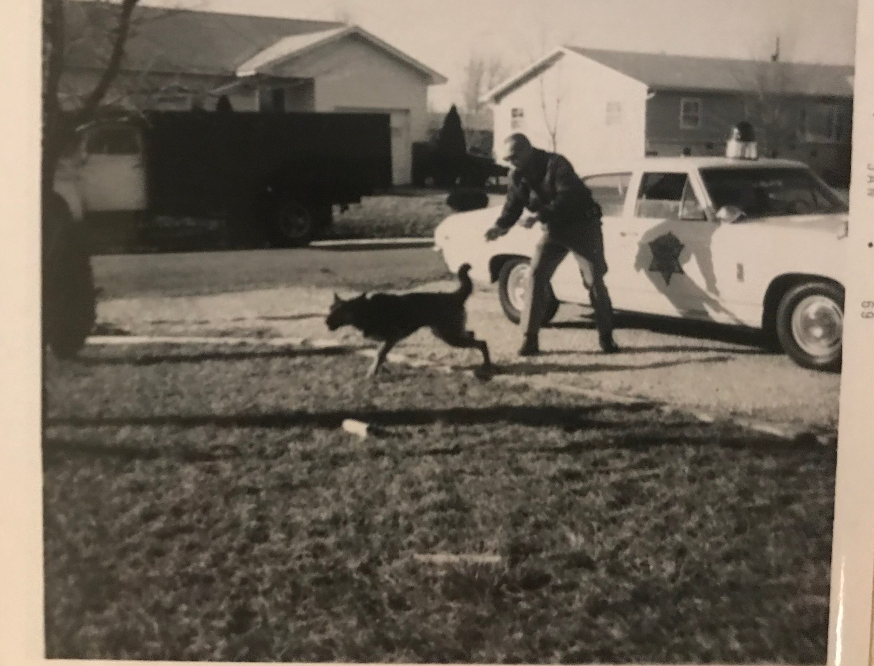This photo, dated January 1969, is of Marty Pettit and his K9 partner, Dallas.