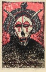 Rafael Zarza, Mascara Ritual, 2002, lithograph
