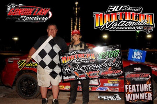 Brittany Smith was the Hornet national champion in WISSOTA Auto Racing in 2018, the first woman to win the title.