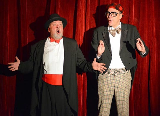 "Dom DeVille (Dan Barth) and Paddy O'Hanahan (Raine Hokan) return as hosts of the musical comedy, ""Laughing All The Way,"" at Pioneer Place Theatre in St. Cloud."