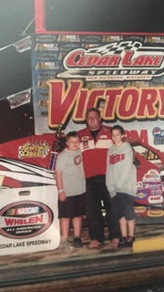 Jacob and Brittany Smith at the track as children with their dad.