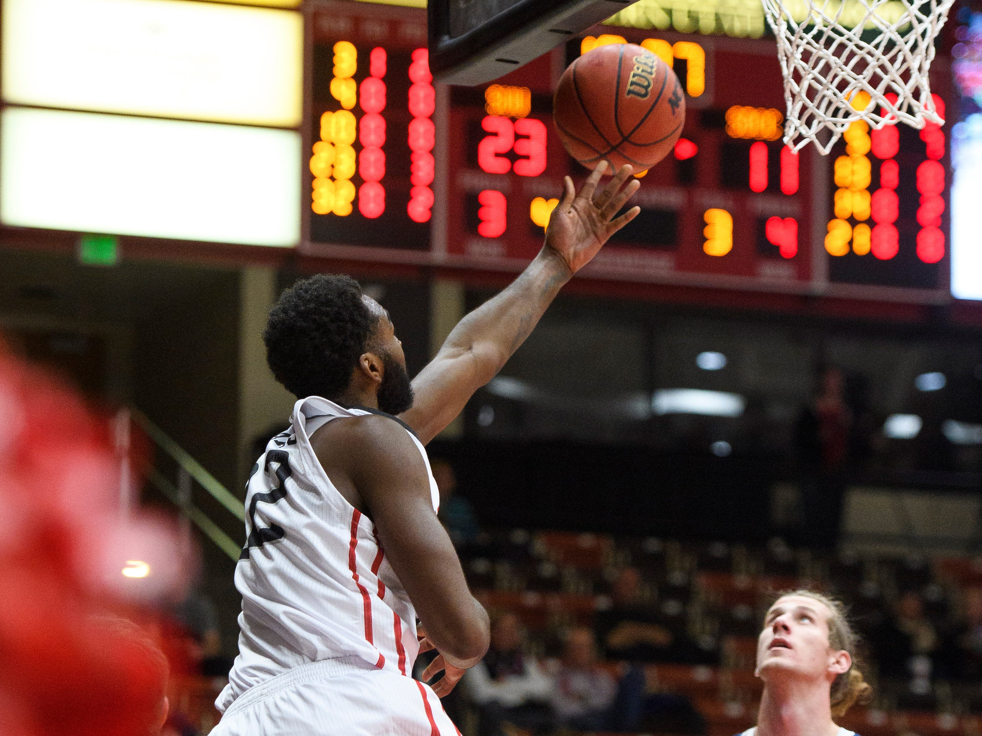 The Southern Utah University men's basketball team battles San Diego Christian at the America First Event Center Thursday, November 29, 2018.