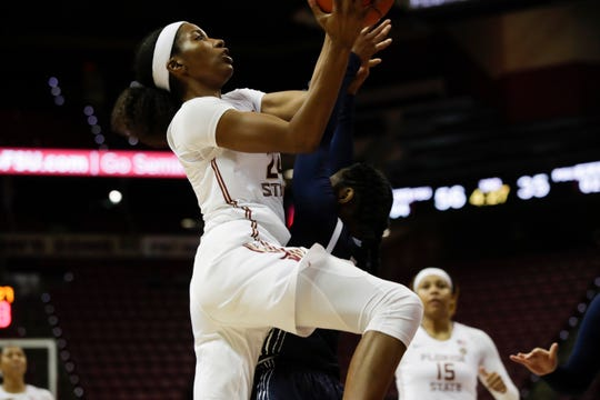 Florida State Seminoles guard Morgan Jones (24) goes for a lay up against a defender during a game between FSU and Penn State at the Donald L. Tucker Civic Center Thursday, Nov. 29, 2018. The Seminoles defeated the Lady Lions 87-58.