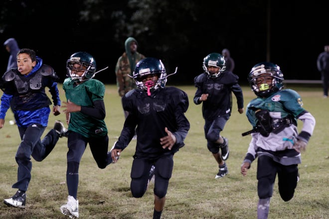 The Chaires Eagles Pop Warner football team practices Tuesday, Nov. 17, 2018 at Appalachee Regional Park before they travel to Orlando to play in the 2018 Pop Warner Super Bowl Monday, Dec. 3, 2018.