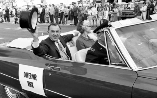 Governor  Kirk  and  his  mother  leading  the  inaugural  parade,  1967.