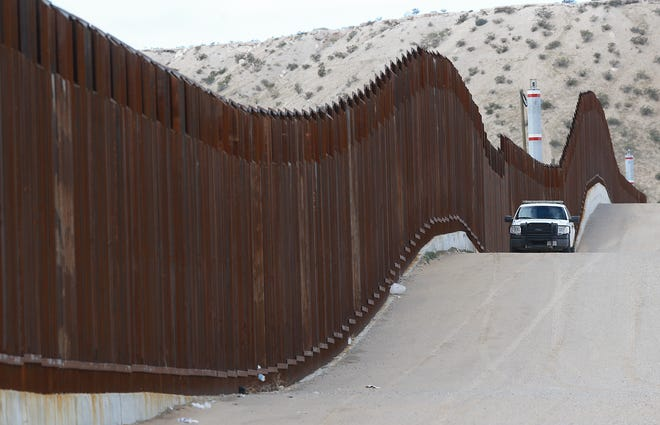 A section of the wall that borders the United States and Mexico.