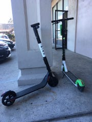 Electric scooters in a shopping center in Goleta.