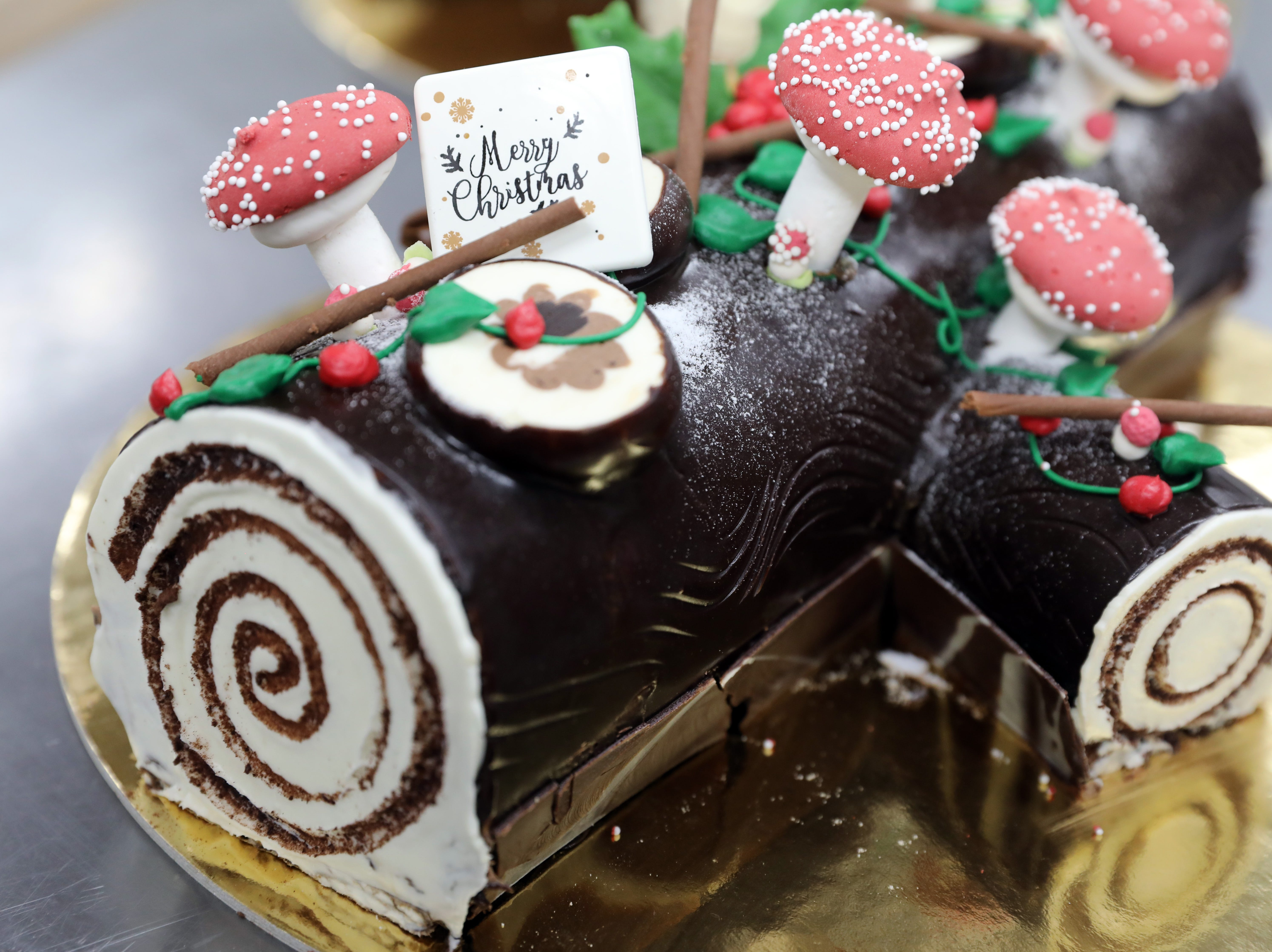 A Yule log cake for the holidays at Martine's Fine Bake Shoppe in Tuckahoe Nov. 29, 2018. The family bakery, which has a second location in Scarsdale, is celebrating their 10th anniversary in business.