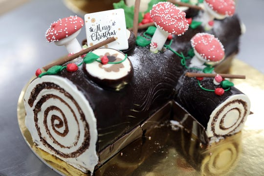 A Yule log cake for the holidays at Martine's Fine Bake Shop in Tuckahoe Nov. 29, 2018. Cake production at the bakery quadruples during the holiday season.