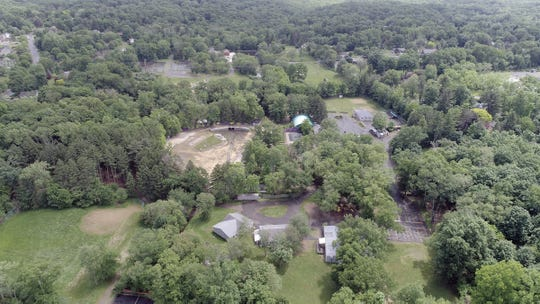 A drone photo showing the campus of United Talmudical Academy of Monsey on Cherry Lane in the Village of Airmont on June 5, 2018.