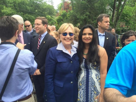 Hillary Clinton and lohud's Swapna Venugopal Ramaswamy at the Memorial Day parade in Chappaqua in 2016.