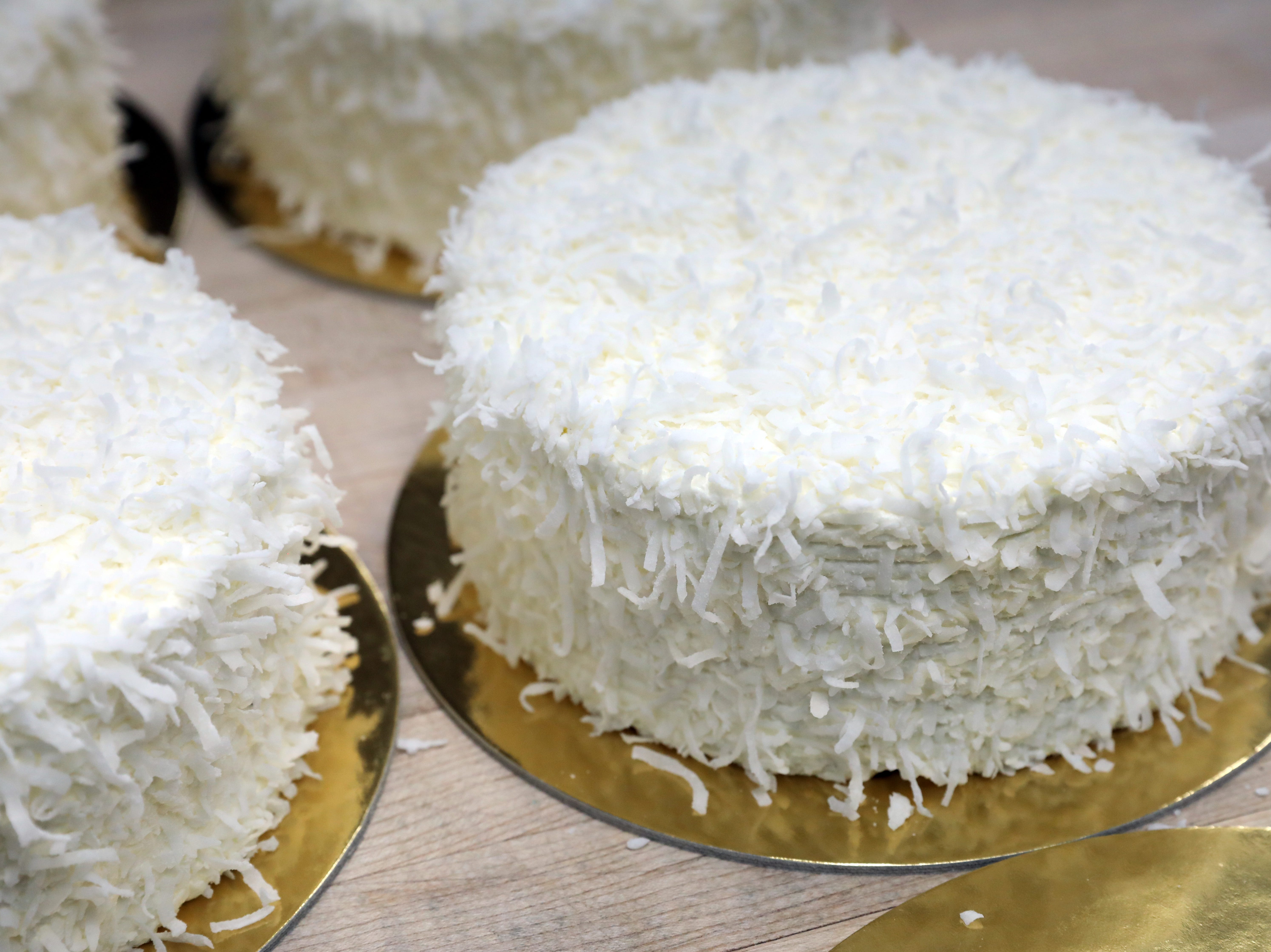 Freshly made coconut cakes at Martine's Fine Bake Shoppe in Tuckahoe Nov. 29, 2018. The family bakery, which has a second location in Scarsdale, is celebrating their 10th anniversary in business.