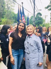 Sanjana Ramaswamy, a Horace Greeley Hill School graduate, talks to Hillary Clinton about her college plans in 2018.