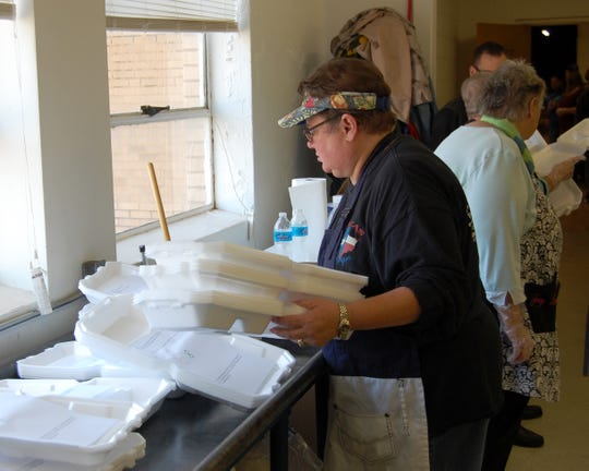 Sharon Goins, who along with her husband Billy, oversee the holiday meal program in Vernon. One of her many tasks is to keep up with the number of plates filled and delivered to local residents. A total of close to 900 plates were either delivered, served at Wilbarger Memorial Auditorium, or taken out on Thanksgiving 2018.