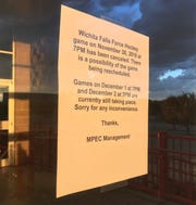 A sign posted at the Kay Yeager Coliseum informs Wichita Falls Hockey fans that Friday night's game has been cancelled.