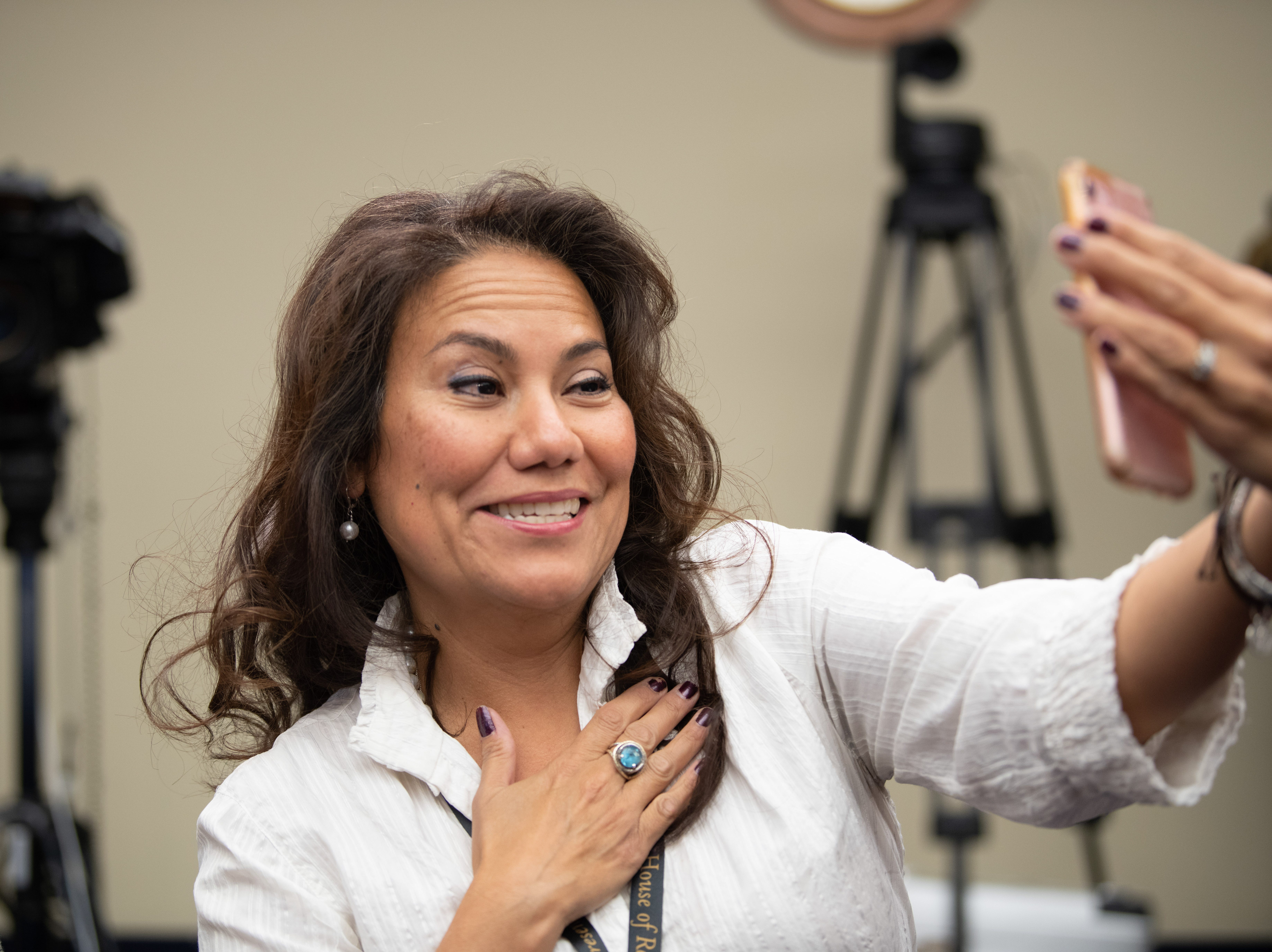 {Nov. 30, 2018} {10:30 a.m.} -- Washington, DC  -- Incoming Congresswoman Veronica Escobar of Texas (D) takes some selfies and videos before the lottery that determines the order in which new members of Congress will select their offices. -- Photo by Hannah Gaber, USA TODAY Staff