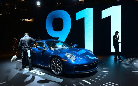 The Porsche 911 Carrera 4S, which made its world premiere, is seen at AutoMobility LA, the trade show ahead of the LA Auto Show, on Nov. 29, 2018, at the Los Angeles Convention Center.