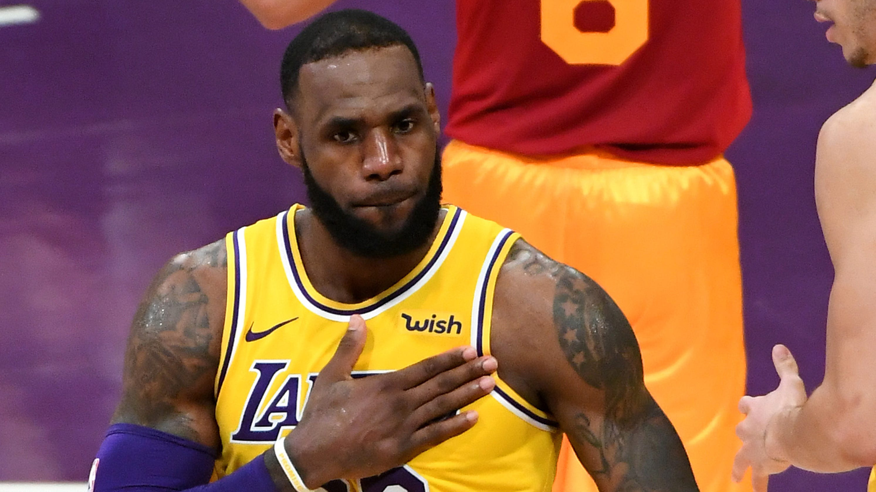 2ab498424cd Los Angeles Lakers forward LeBron James (23) pounds his chest after drawing  a foul as he scores a basket in the second half against the Indiana Pacers  at ...