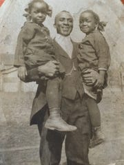 Robert C. Fanning with twin daughters Jessie and Bessie Fanning, date uncertain. Robert was the son of Roscoe Fanning, born 1922. He shares DNA with his great-niece Lisa Fanning. Her family has a common ancestor with Nadine Duplessy Kearns, wife of Andre Kearns. This ancestor lived about 200 years ago. Lisa Fanning and Andre Kearns were able to find the connection through their work with both historical genealogical records and DNA testing.
