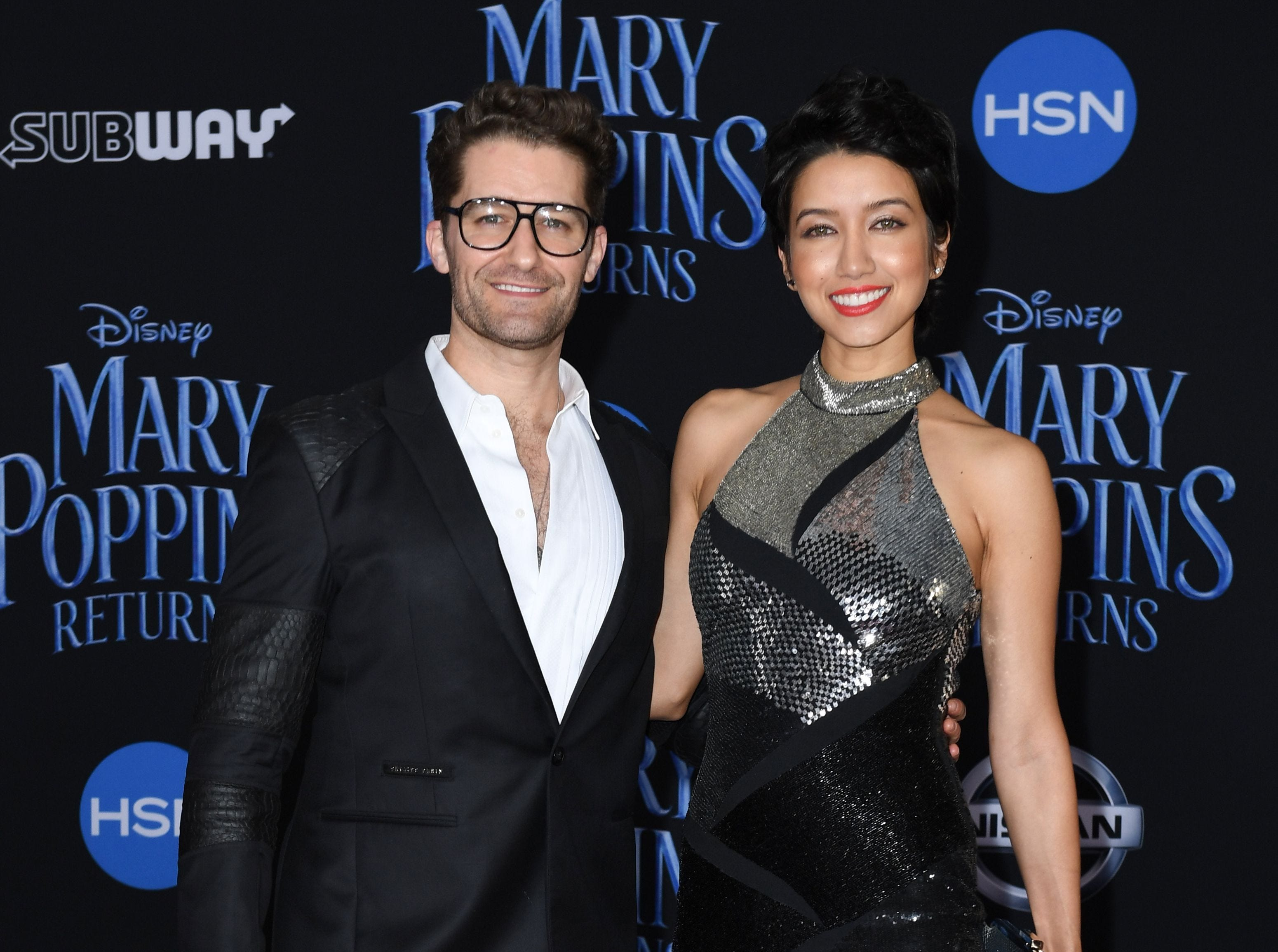 """US actor Matthew Morrison and his wife Renee Puente arrive for the world premiere of Disney's """"Mary Poppins Returns"""" at the Dolby theatre in Hollywood on November 29, 2018. (Photo by VALERIE MACON / AFP)VALERIE MACON/AFP/Getty Images ORG XMIT: 'Mary Pop ORIG FILE ID: AFP_1B81HD"""