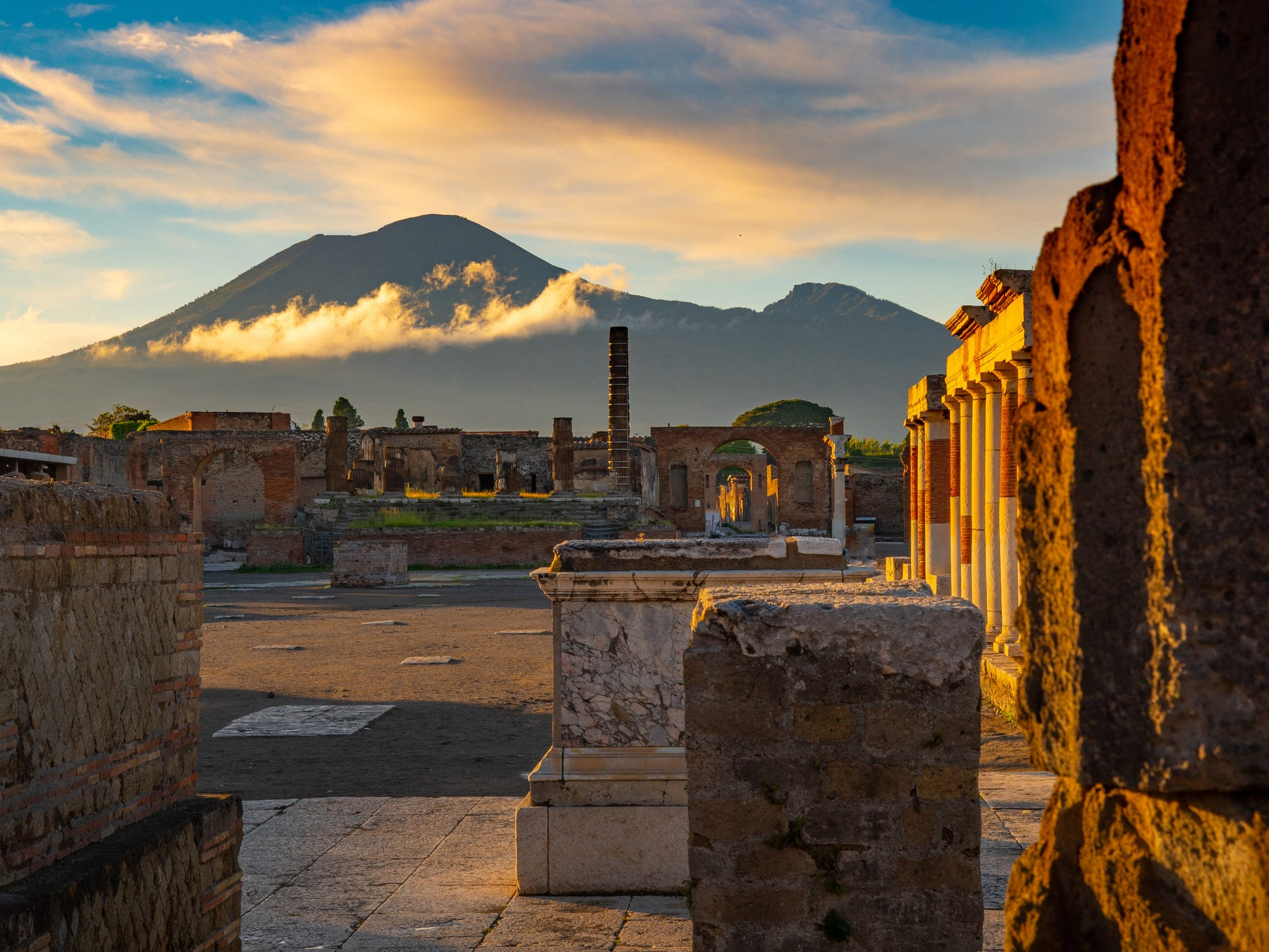 The archaeological site of Pompeii, Italy.