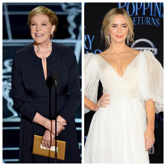 Julie Andrews, left, and Emily Blunt.