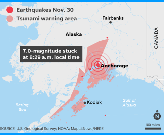 Gráfica de USA Today sobre el terremoto en Alaska.