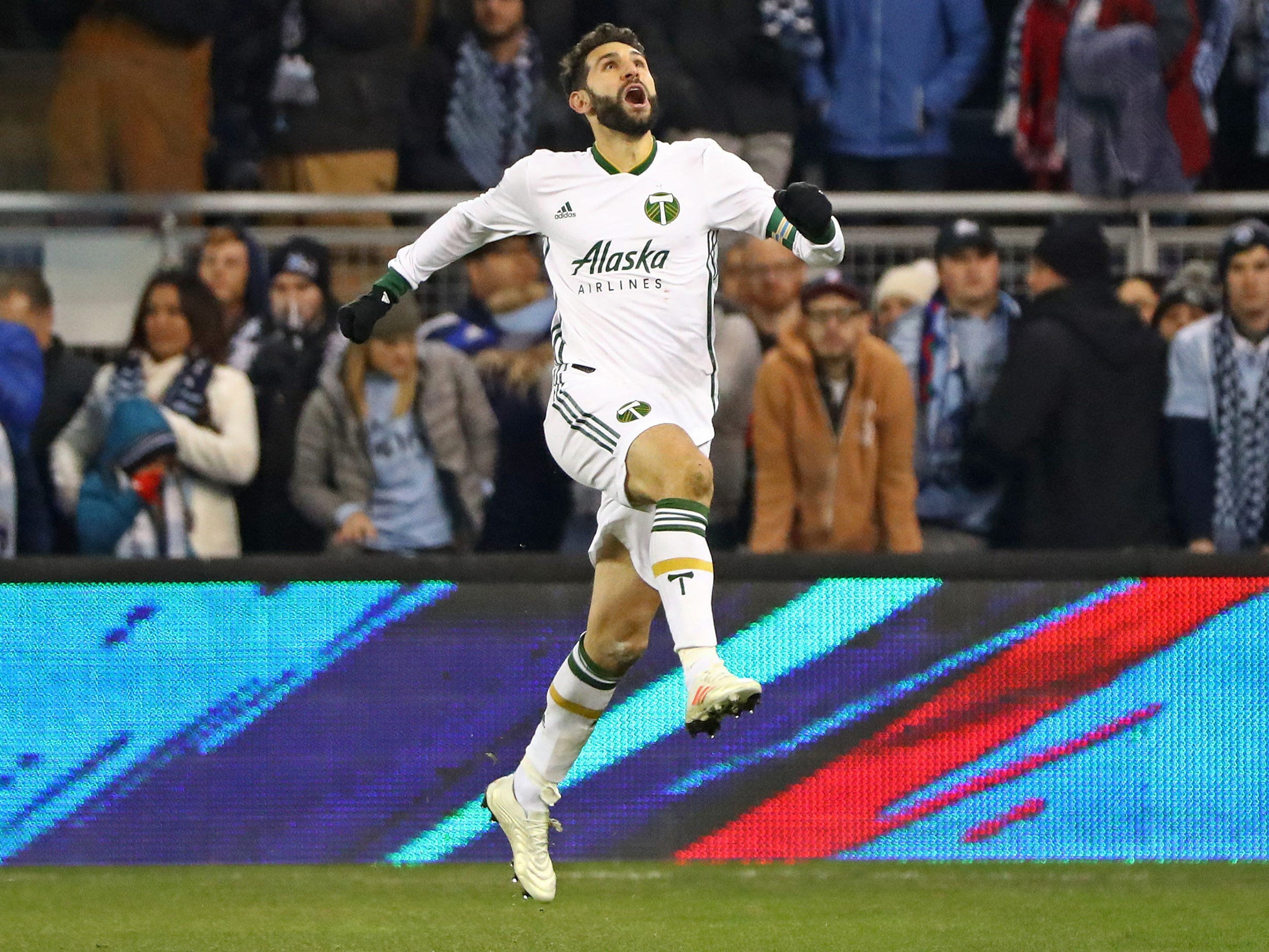 Portland Timbers midfielder Diego Valeri celebrates after scoring a goal against Sporting Kansas City during the second half in the second leg of the MLS Western Conference Championship at Children's Mercy Park.