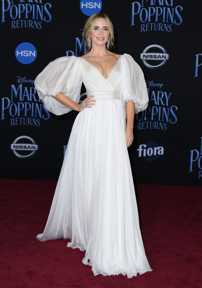 """British/US actress Emily Blunt arrives for the world premiere of Disney's """"Mary Poppins Returns"""" at the Dolby theatre in Hollywood on November 29, 2018. (Photo by VALERIE MACON / AFP)VALERIE MACON/AFP/Getty Images ORG XMIT: 'Mary Pop ORIG FILE ID: AFP_1B81F9"""
