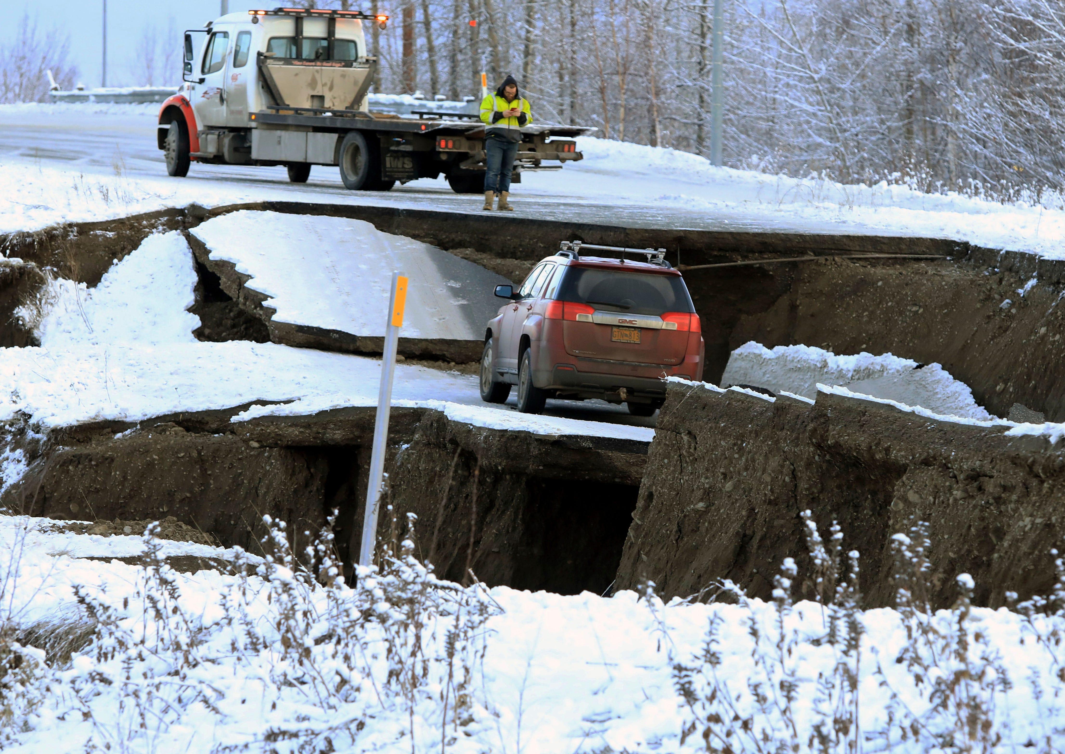 Alaska Earthquake Road Damage