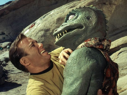 Captain Kirk (William Shatner), left, was able to fend off his Gorn foe on his own, but it helped to have fan support to help the original 'Star Trek' avoid cancellation and win a third season in the 1960s.