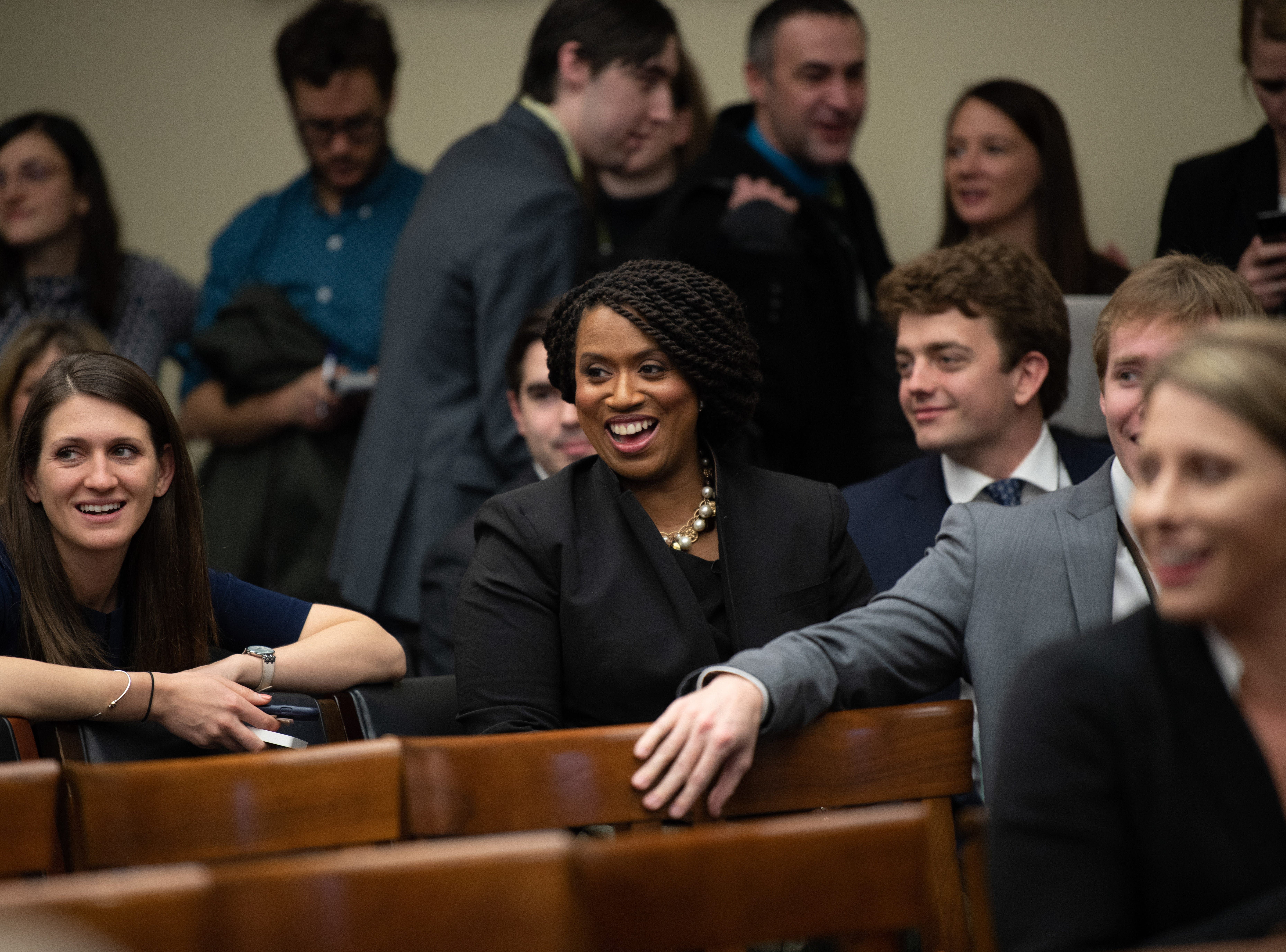 {Nov. 30, 2018} {10:30 a.m.} -- Washington, DC  -- Newly-elected Congresswoman Ayanna Pressley of Massachusetts (D) sits with colleagues while awaiting the start of the lottery that determines the order in which new members of Congress will select their offices. -- Photo by Hannah Gaber, USA TODAY Staff