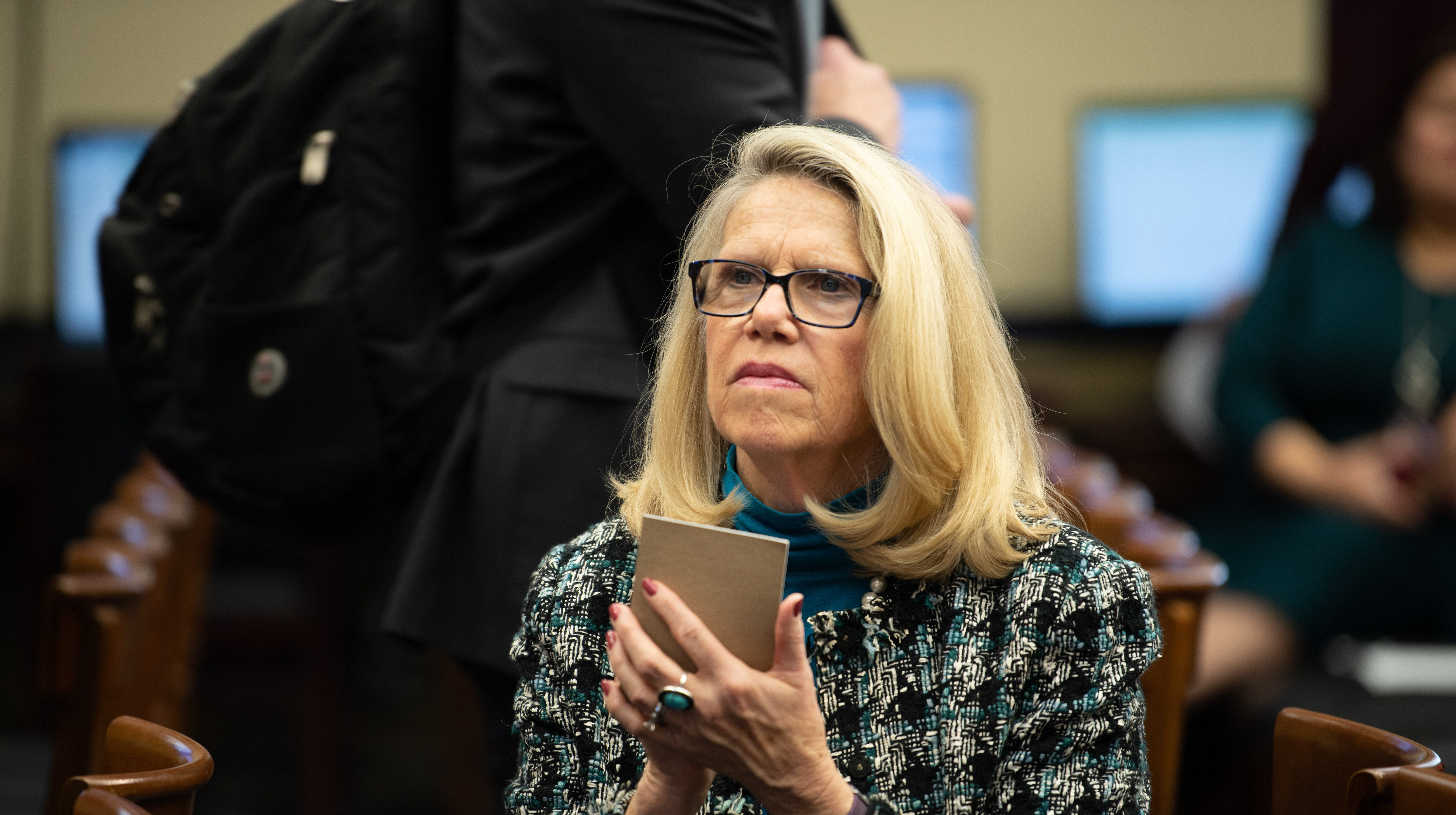 {Nov. 30, 2018} {10:30 a.m.} -- Washington, DC  -- Rep. Elect Carol Miller of West Virginia takes notes ahead of the lottery that will determine the order in which new members of Congress will select their offices. -- Photo by Hannah Gaber, USA TODAY Staff