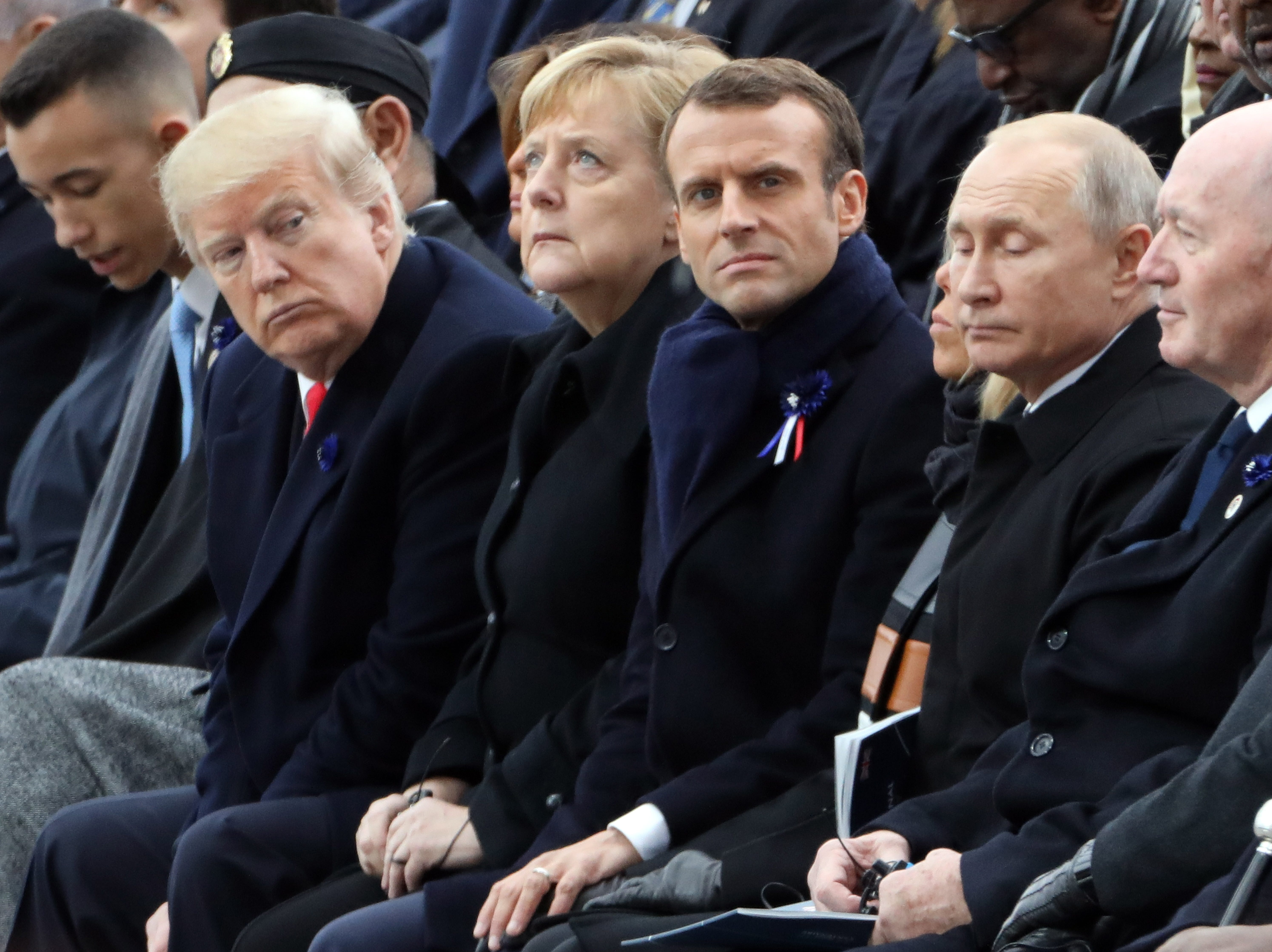 President Donald J. Trump looks toward   Russian President Vladimir Putin as the attend the international ceremony for the Centenary of the WWI Armistice of Nov. 11, 1918 at the Arc de Triomphe, in Paris, France on Nov. 11, 2018. Heads of State and Government commemorate their fallen soldiers in France.