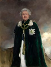 A new portrait Queen Elizabeth II depicts her in the grand ceremonial robes and collar of the Order of the Thistle. The painting by artist Nicky Phillips was placed in the Royal Dining Room at Holyrood House in Edinburgh, Scotland.