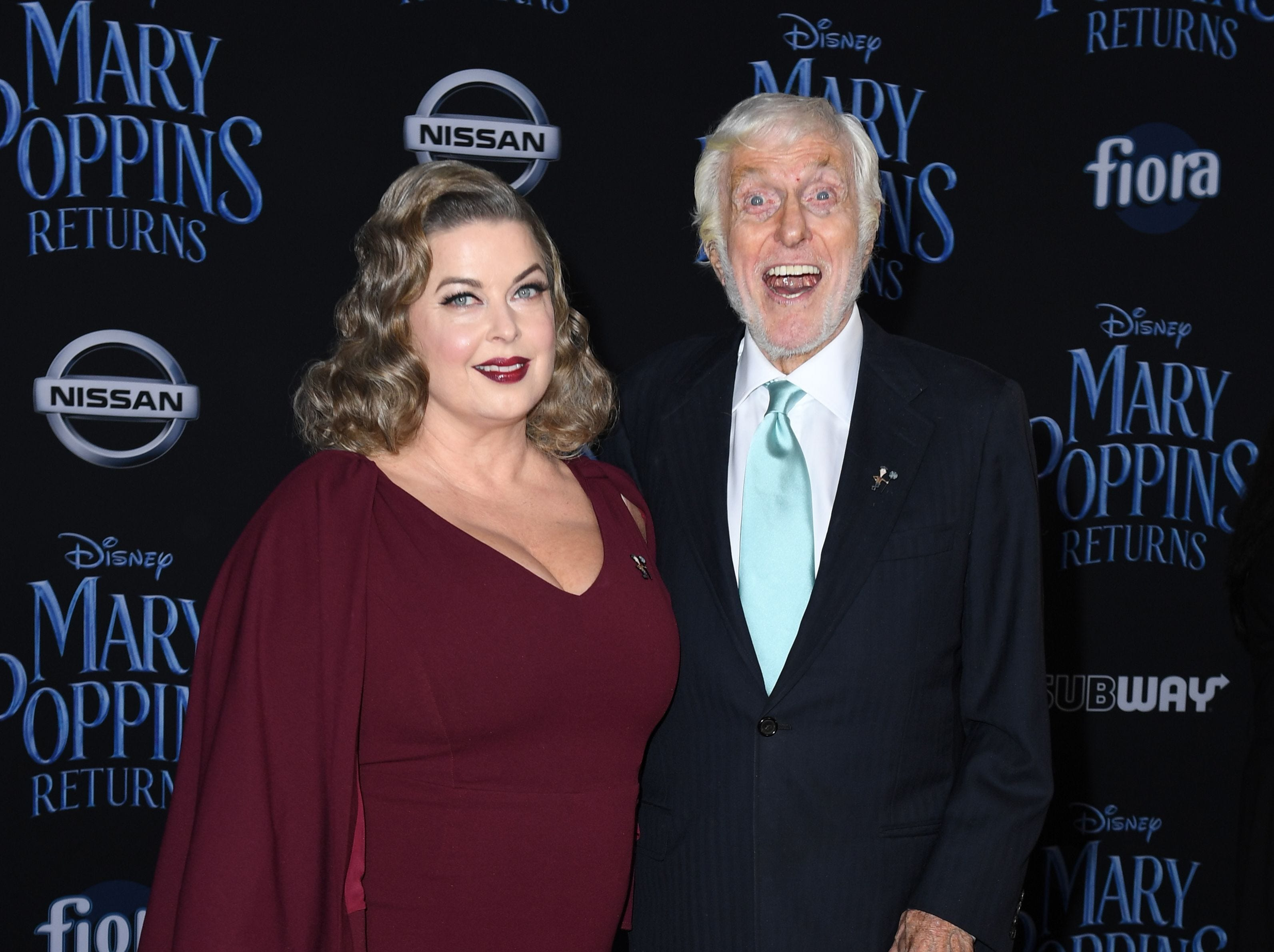 """US actor Dick Van Dyke and his wife Arlene Silver arrive for the world premiere of Disney's """"Mary Poppins Returns"""" at the Dolby theatre in Hollywood on November 29, 2018. (Photo by VALERIE MACON / AFP)VALERIE MACON/AFP/Getty Images ORG XMIT: 'Mary Pop ORIG FILE ID: AFP_1B81NV"""
