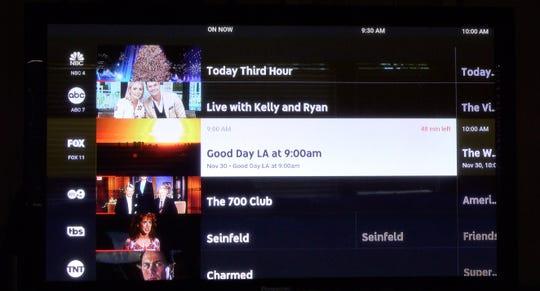 Menu screen of YouTube TV