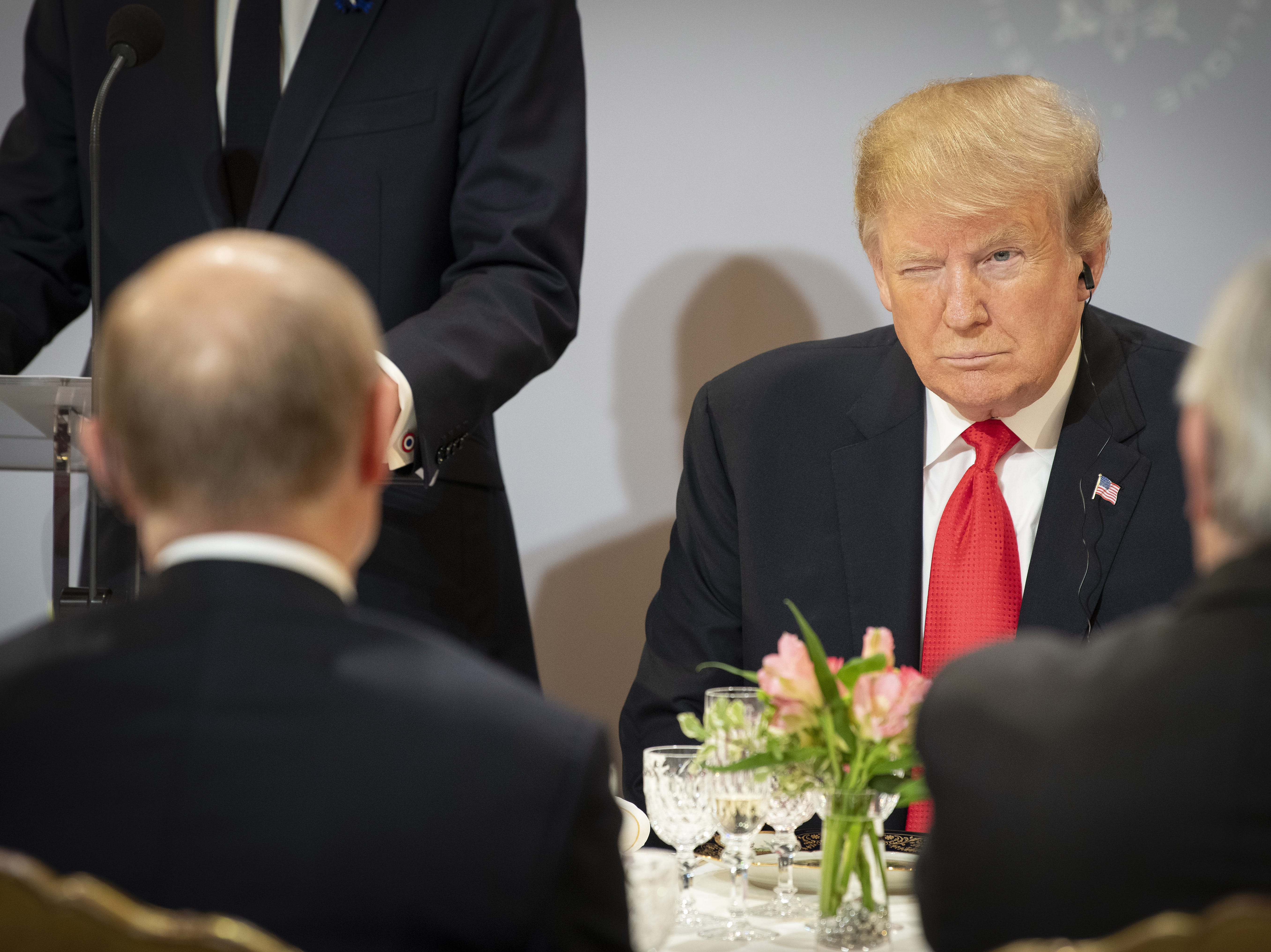 US President Donald Trump sits opposite Russian President Vladimir Putin during lunch at the Elysee Palace during the occasion of the commemoration ceremony of the 100th anniversary since the end of The First World War on Nov. 11, 2018 in Paris, France. Heads of State from around the world gather in Paris to commemorate the end of the First World War.