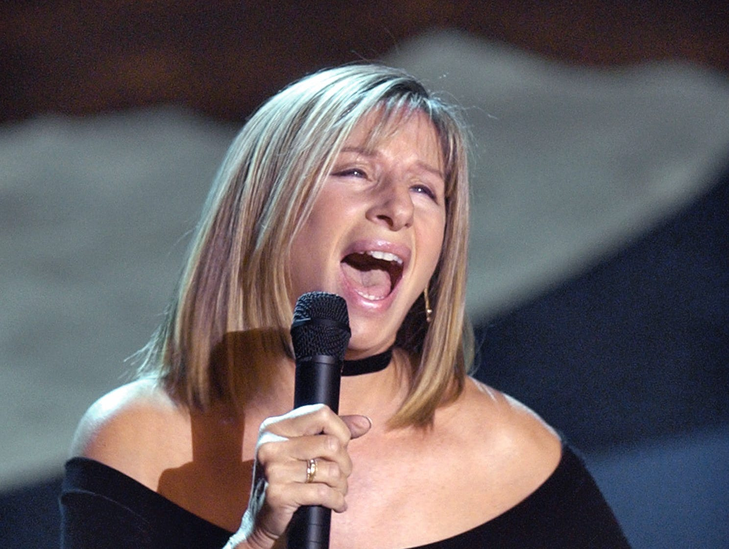 FILE--Barbra Streisand performs in this Nov. 4, 2001 file photo in Los Angeles. Streisand outbid the Mount Vernon Ladies Association to buy a 1790s-vintage portrait of George Washington for $412,750 at a Sotheby's auction in May 2001. The painting will be moving from the George Washington Museum to Streisand's home in Malibu, Calif.  (AP Photo/Kevork Djansezian, File) ORG XMIT: NY108