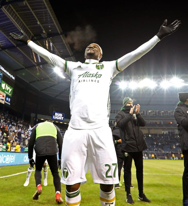 Portland Timbers forward Dairon Asprilla (27) celebrates after defeating Sporting Kansas City in the second leg of the MLS Western Conference Championship at Children's Mercy Park.