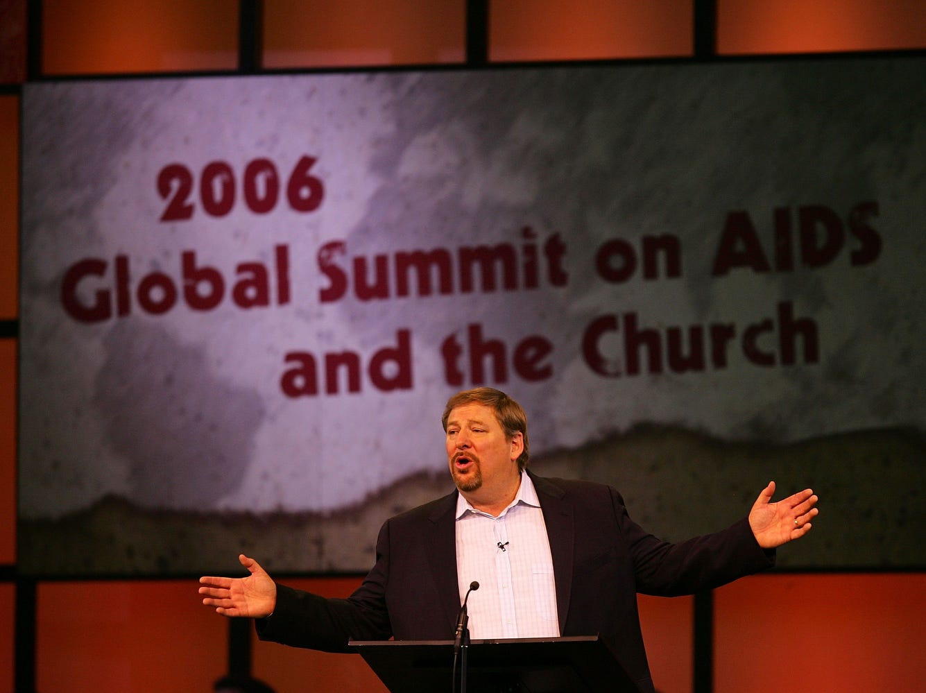 Saddleback Church Pastor Rick Warren speaks at theGlobal Summit on AIDS and The Church, at Saddleback Church on Dec. 1, 2006, in Lake Forest, Calif. Warren drew criticism for inviting Sen. Barack Obama to the conference because of his support of a woman's right to an abortion. Warren embraced Obama after his August visit to Africa where he took a highly-publicized AIDS test.