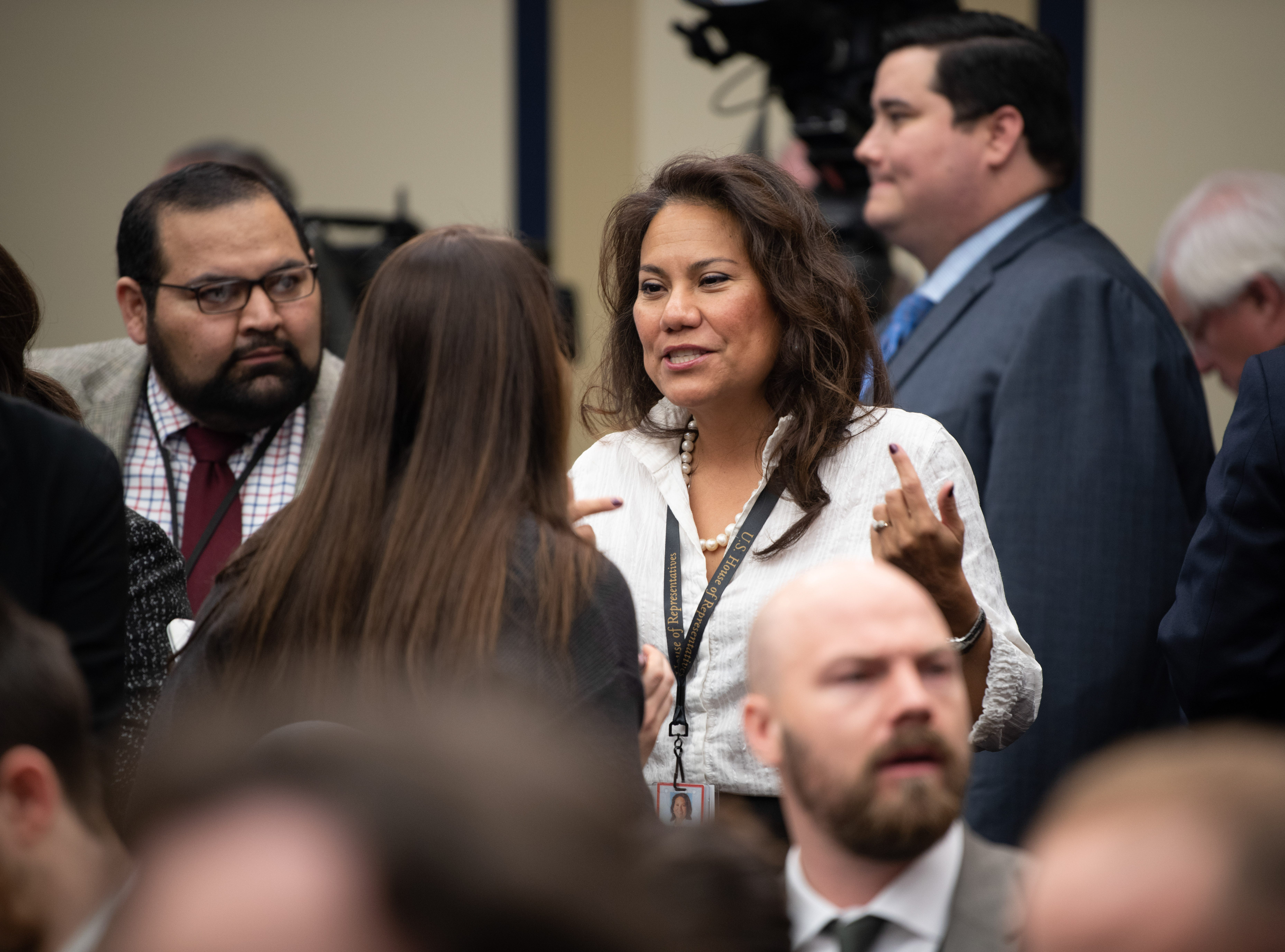 {Nov. 30, 2018} {10:30 a.m.} -- Washington, DC  -- Rep. Elect Veronica Escobar of Texas (D) chats with Alexandria Ocasio-Cortez (D, N.Y.) while awaiting the start of the congressional office lottery.-- Photo by Hannah Gaber, USA TODAY Staff